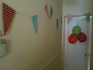 Party bunting, spotty bunting, party balloons