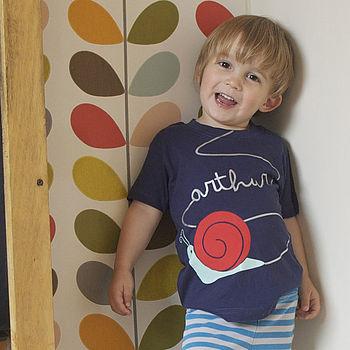 Pop Kid t-shirt, snail t-shirt, Orla Kiely, orla Keily