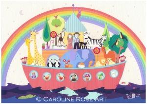 Noah's Ark picture, children's pictures, nursery decor
