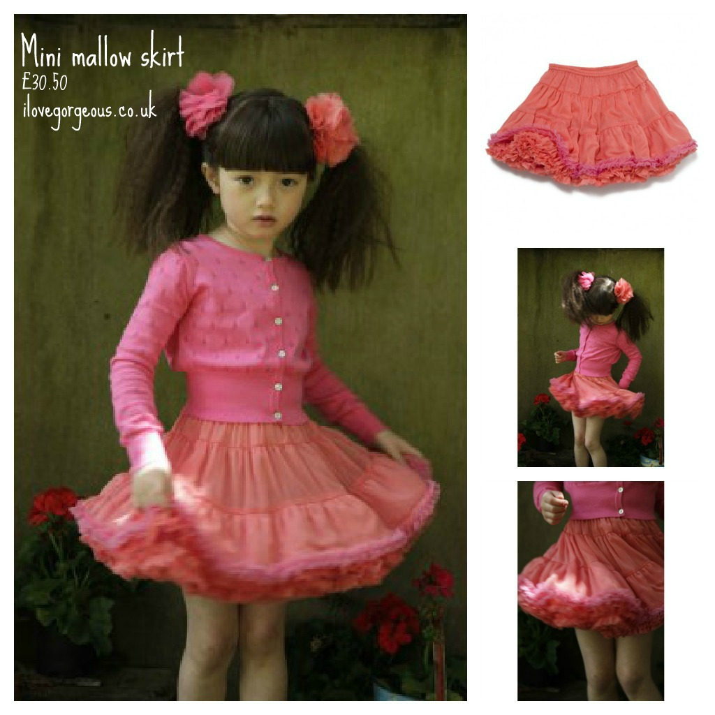 Girls' tutu skirt, I Love Gorgeous, ilovegorgeous.co.uk, coral toddler skirt, toddler tutu