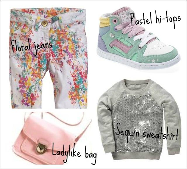 Next kidswear, trendy clothes for kids, pastel hi-tops, floral jeans, satchel bag, sequin sweatshirt