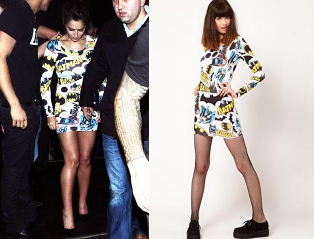 Cheryl Cole Wears ASOS Batman Dress, ASOS, cartoon print fashion